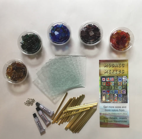 GLASS ON GLASS MOSAIC KIT  Mixie Mini. Translucent Colors.