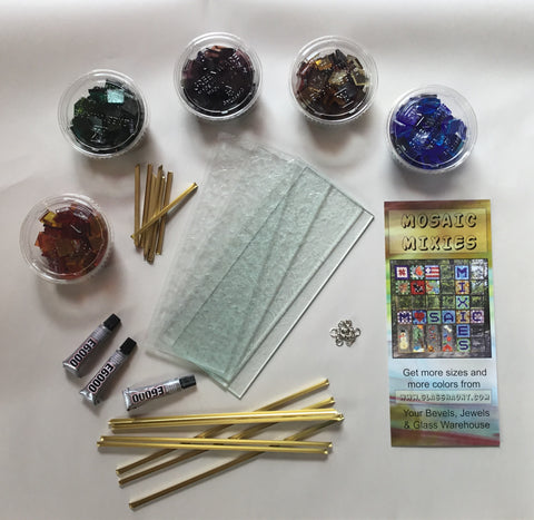 04 Mosaic Mixie Midi. Translucent Colors.  Real Stained Glass Mosaic Kit