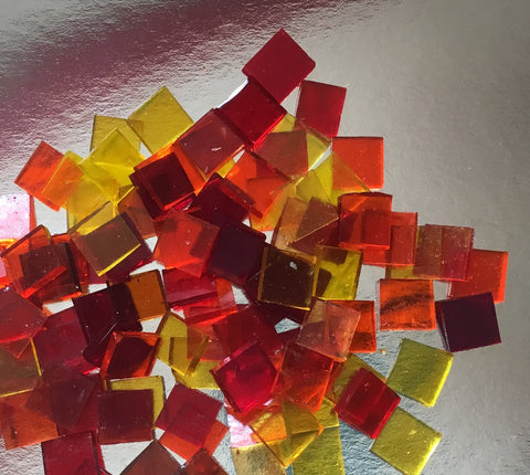 "1/2"" Mosaic Glass Tiles Firey Skies Red, Orange and Yellow Translucent"
