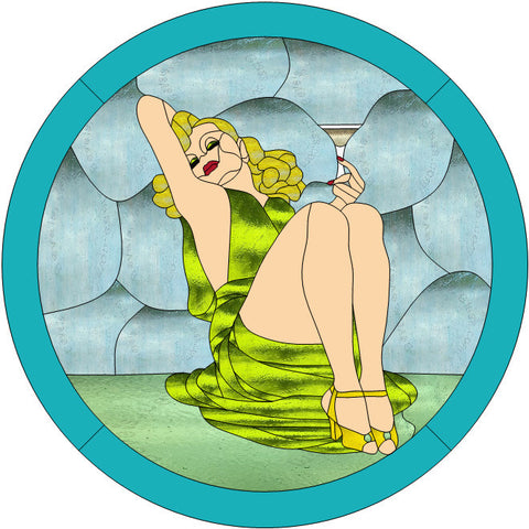 "Martini Girl 16"" Stained Glass Pattern PDF VERSION"