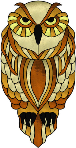 "Owl Focused 12 x 24"" Stained Glass Pattern. PDF VERSION"