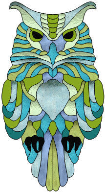 "Owl Grumpy 13 x 24"" Stained Glass Pattern. PDF VERSION"