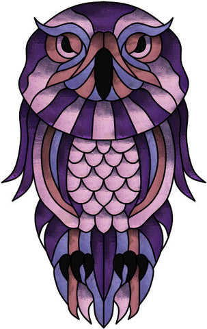 "Owl Scraggly 13 x 21"" Stained Glass Pattern. PDF VERSION"