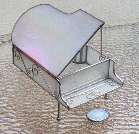 Iridescent White Baby Grand Piano Stained Glass Box