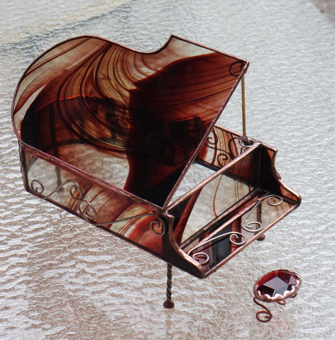 Hand Swirled Sienna Baby Grand Piano Stained Glass Box