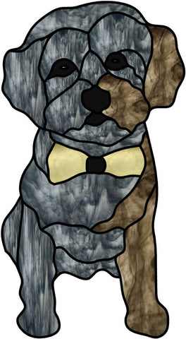 Tony Dog Less Detail 7 x 13 Stained Glass Pattern. PDF VERSION
