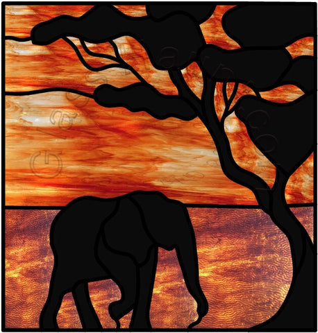 "Elephant Silhouette 12 x 12"" Stained Glass Pattern PDF VERSION"