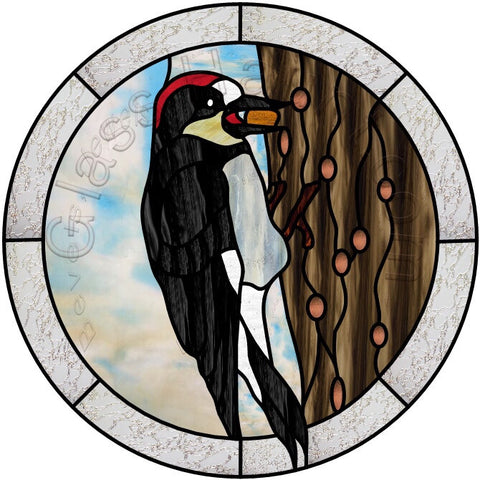 "Acorn Woodpecker Bird 12"" PDF VERSION Stained Glass Pattern"