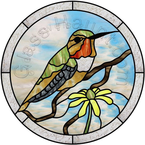 "Allen's Hummingbird Sitting 12"" PDF VERSION Stained Glass Pattern"
