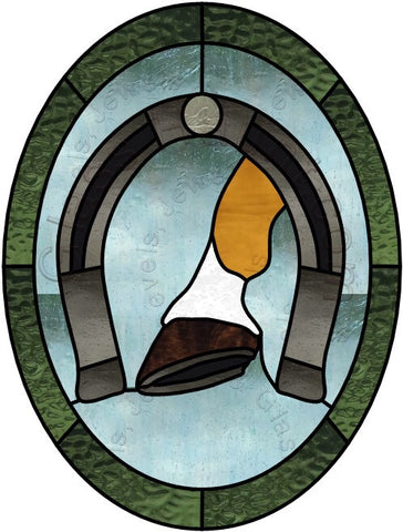 "Horseshoe 10 x 13"" Stained Glass Pattern  PDF VERSION"