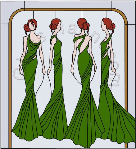 "Project Runway Inspired One Panel Piece 29 x 32"" Stained Glass Pattern  PDF VERSION"
