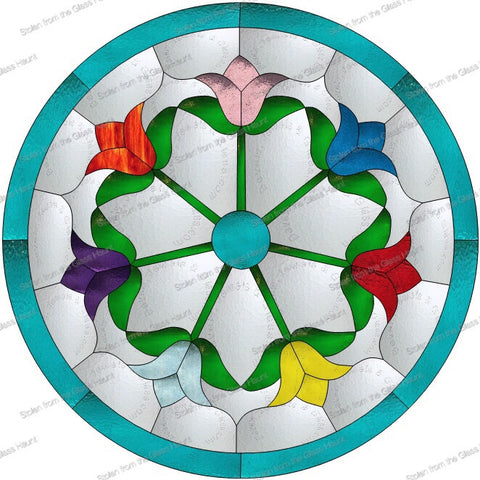 "Tulip Wheel 16"" Stained Glass Pattern. PDF VERSION"