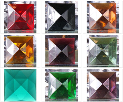 25MM SQUARE FACETED GLASS JEWEL