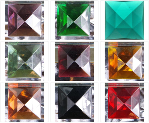 30MM SQUARE FACETED GLASS JEWEL