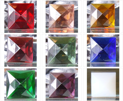 18MM SQUARE FACETED GLASS JEWEL