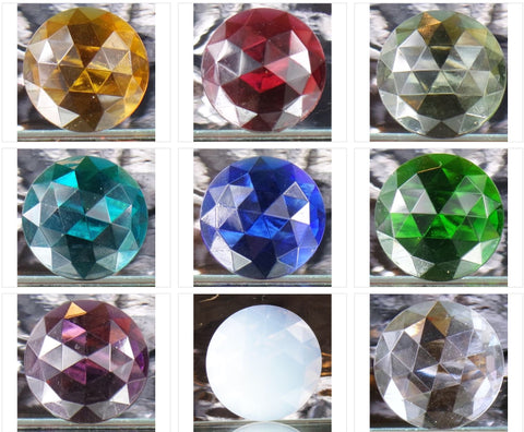 50MM ROUND FACETED GLASS JEWEL