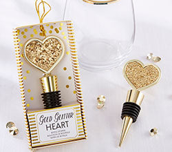 Gold Glitter Heart - Bottle Stopper