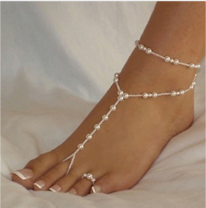 Elasticated Faux Pearl Anklet and Toe Ring