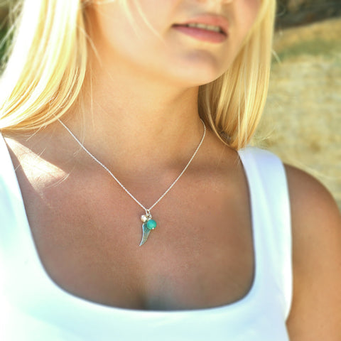 Birth Stone Angel Wing Necklace - Turquoise