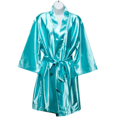 Satin Robe in Aqua