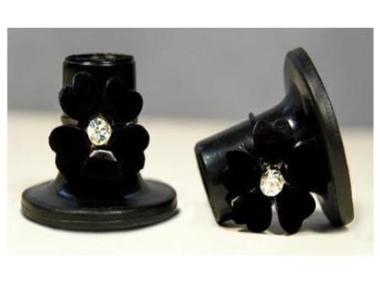 Black with Black Flower Heel Stoppers
