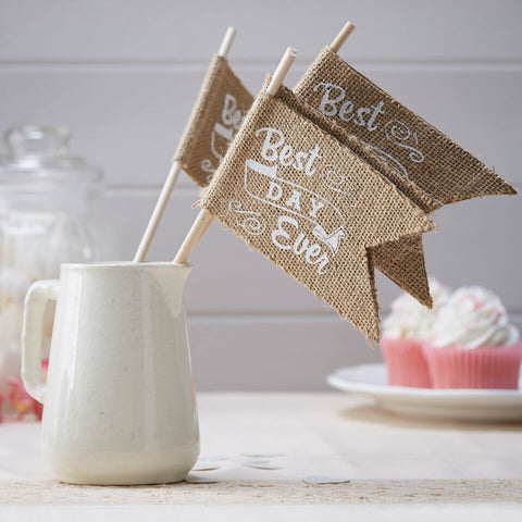 """Best Day Ever"" Hessian Flags"