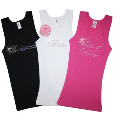 * Bride * BridesMaid * Maid of Honour * Crystal Tank Tops