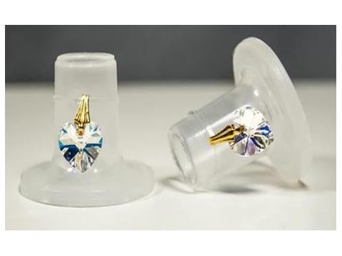 Clean Heels Clear or Black - Crystal Heart Heel Stoppers