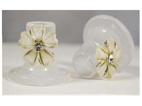 Clear with White Flower Heel Stoppers