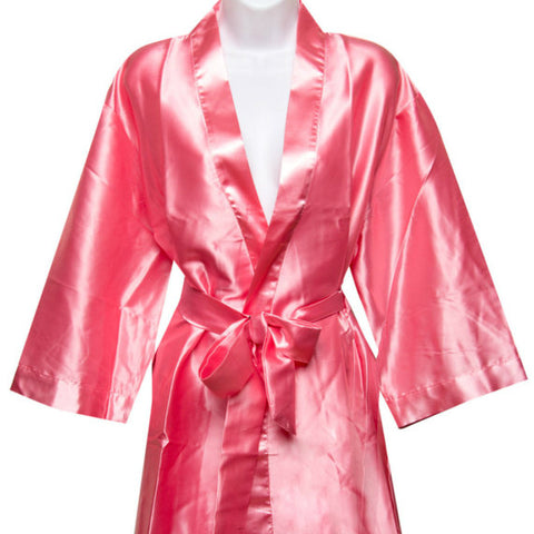Satin Robe in Coral