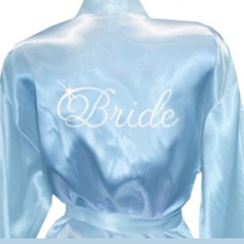 Bridal Robe Pale Blue with Rhinestone BRIDE