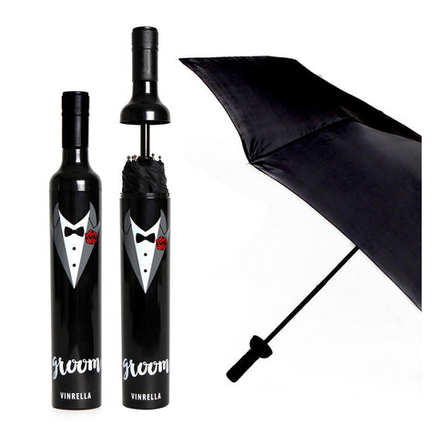 Bride and Groom Wine Bottle Umbrellas
