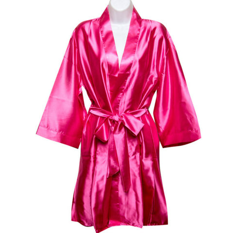 Satin Robe in Hot Pink
