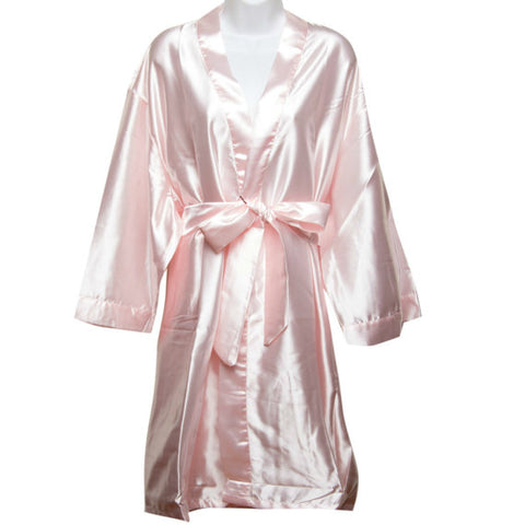 Satin Robe in Light Pink