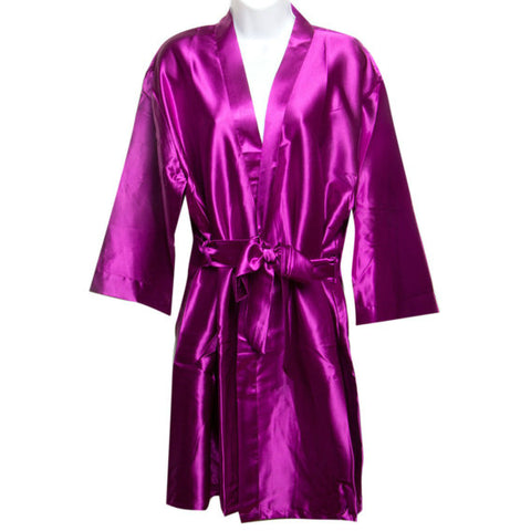 Satin Robe in Plum