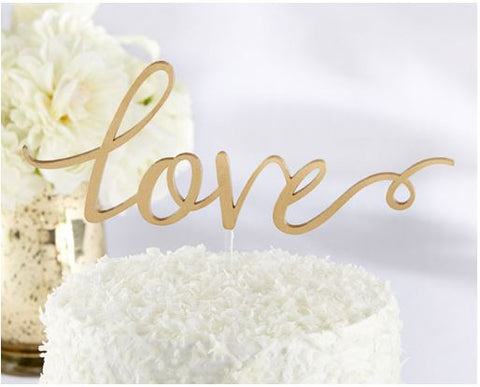 "Wedding Cake Topper Gold Acrylic ""LOVE"""