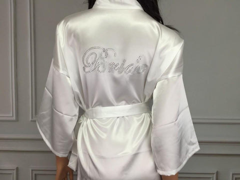White Robe with Swarovski Crystal BRIDE. Limited Stock. Price reduced.
