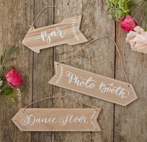 Wooden Party Direction Arrows for Weddings or Events.  Bar, Photo Booth and Dance Floor