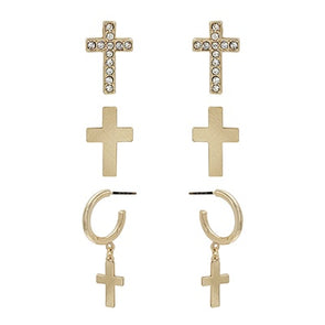 Cross Studs and Hoop Earring - Multiple Colors