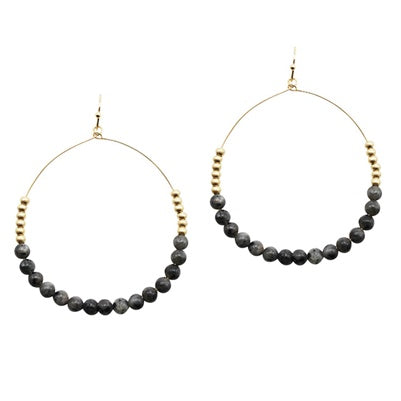 Grey Natural Stone Hoop Earrings