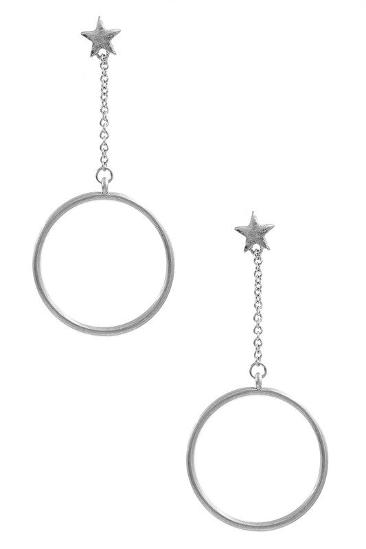 Metal Star/Ring Drop Earrings - Silver