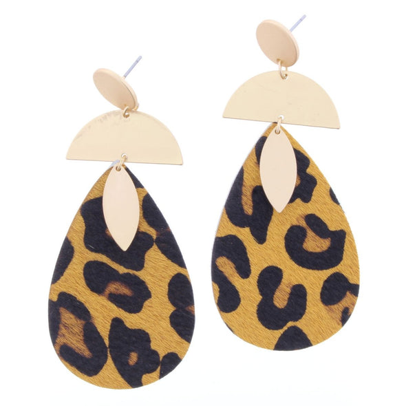 Remi Earring Collection -  Leopard Teardrop