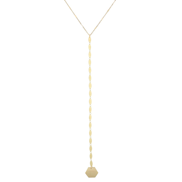 Gold Oval Hexagon Necklace