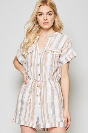 What You Heard Striped Linen Romper