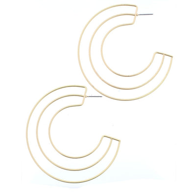 Luminous Earring Collection - Gold Double Outline Hoop