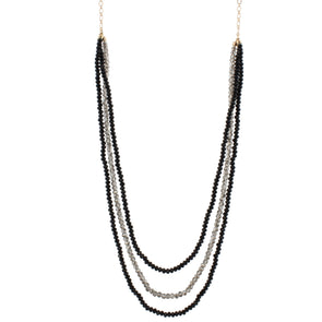 Black Multi Layer Beaded Necklace