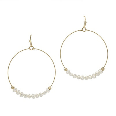 Gold Pearl Row Hoop Earrings
