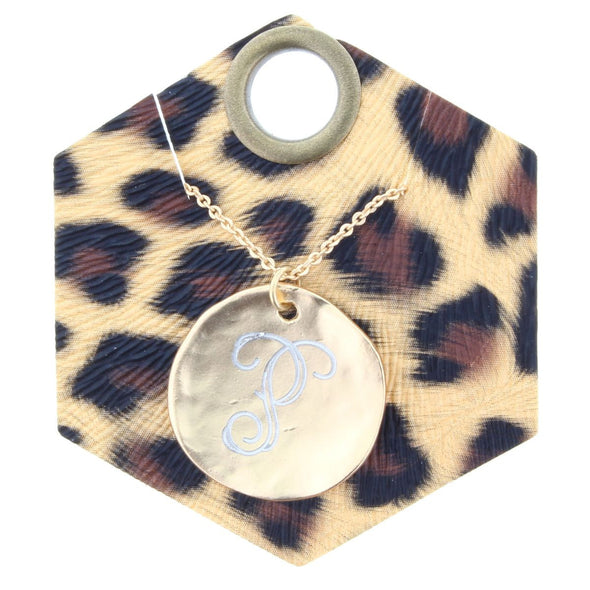 Engraved Gold Disk Necklace