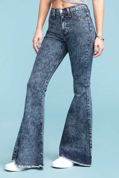 Have Some Fun Super Flare Jeans - Acid Wash