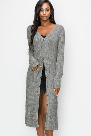 Just Rolling Along Long Cardigan - Gray